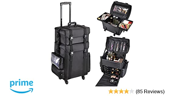 Amazon.com   AW 2in1 Black Soft Sided Rolling Makeup Case Oxford Fabric  Cosmetic 15x11x25