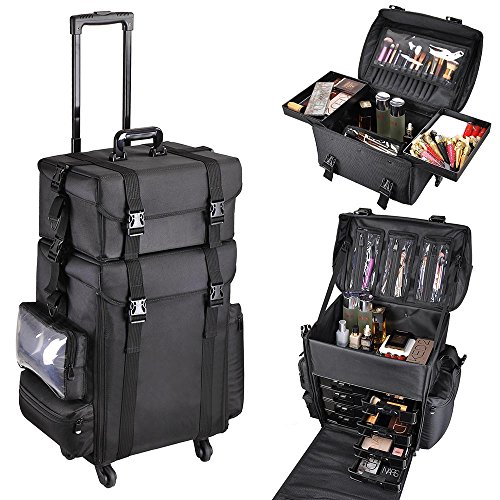 "51U rPKIDjL - AW 2in1 Black Soft Sided Rolling Makeup Case Oxford Fabric Cosmetic 15x11x25"" Train Bag With Drawers"