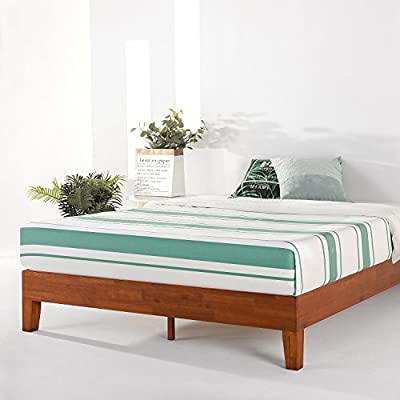 "Mellow Naturalista Grand - 12 Inch Solid Wood Platform Bed with Wooden Slats - No Box Spring Needed - King (Cherry) - King Bed Frame, 12"" Solid Wood Platform Bed Frame w/GRAND Wooden Slat (No Box Spring Needed), Cherry, King Size Mid-Century Modern Style with 3.5 Inch Solid Wooden Frame for Better Durability Noise Free Construction with Non-Slip Tape on the Wooden Slat for Stability - bedroom-furniture, bedroom, bed-frames - 51U rjEO4TL. SS400  -"