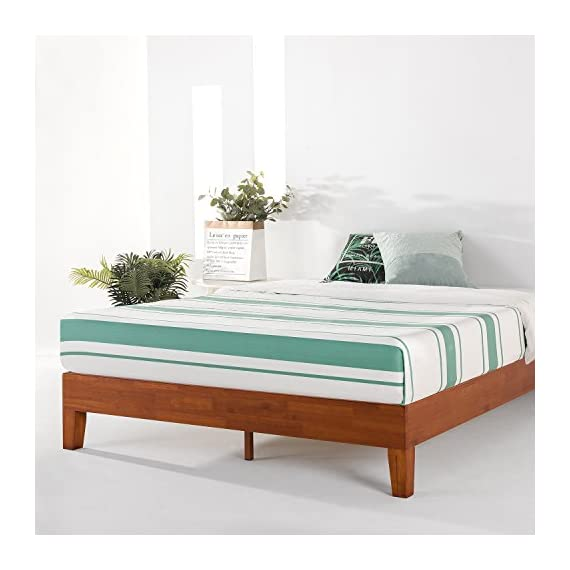 """Mellow Naturalista Grand - 12 Inch Solid Wood Platform Bed with Wooden Slats - No Box Spring Needed - King (Cherry) - King Bed Frame, 12"""" Solid Wood Platform Bed Frame w/GRAND Wooden Slat (No Box Spring Needed), Cherry, King Size Mid-Century Modern Style with 3.5 Inch Solid Wooden Frame for Better Durability Noise Free Construction with Non-Slip Tape on the Wooden Slat for Stability - bedroom-furniture, bedroom, bed-frames - 51U rjEO4TL. SS570  -"""