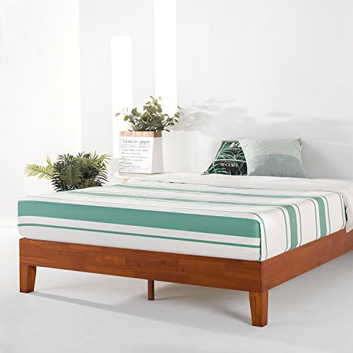 "Mellow 12"" Grand Soild Wood Platform Bed Frame w/Wooden Slats (No Box Spring Needed) Queen Cherry"