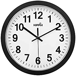 HIPPIH Silent Wall Clock - 12 Inch Non-Ticking Decorative Wall Clock, Universal Modern Wall Clocks for Office/Kitchen/Bedroom/Living Room/Classroom