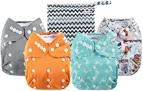 Anmababy 4 Pack Adjustable Size Waterproof Washable Pocket Cloth Diapers with 4 Inserts and Wet Bag (Blue)