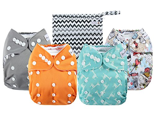 - Anmababy 4 Pack Adjustable Size Waterproof Washable Pocket Cloth Diapers with 4 Inserts and Wet Bag