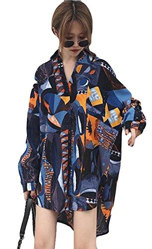 ステープル脊椎曲線(ニカ) レディース シャツ 春 夏 秋 ワンシャツ 薄手 花柄 シャツ カジュアル ファッション 韓国風 おしゃれ ロングシャツ