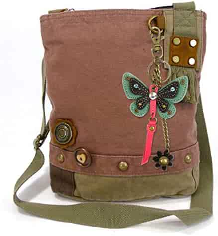 Chala Patch Cross-Body Canvas Messenger Bag with 3D Butterfly Bird Charm 8405a960c5ad6