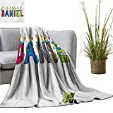 AndyTours Blanket Daniel,Grooving Cheerful Male Name with Happy Occasion Birthday Theme Bite Marked