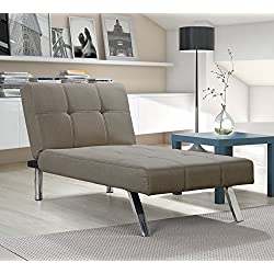 Novogratz Simon Chaise with Chrome Slanted Legs, Mid-Century Modern Design, Converts to Sleeper, Rich Tan Linen
