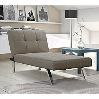 Layton Chaise Lounge Sofa Sectional in Premium Linen, Available in Navy and Tan with Slanted Chrome Legs (Chaise, Tan)