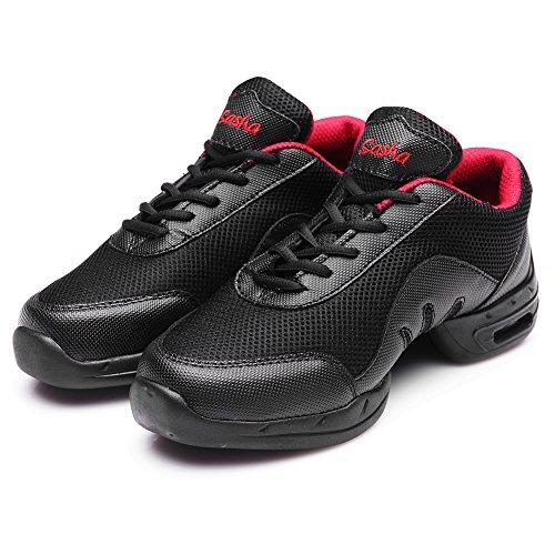 Roymall Hommes Et Femmes Boost Dance Sneaker / Moderne Jazz Ballroom Performance Danse-sneakers Chaussures De Sport, Modèle B57 / B58 / B59 Noir-3