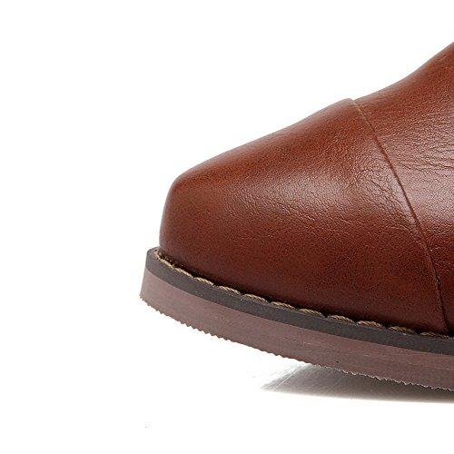 Allhqfashion Donna Pull On Pu Punta Tacco Chiuso Gattini Tacco Pompe-scarpe Marrone