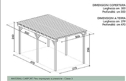 Salón tienda online pérgola cenador Carport 300 x 500 cm con cobertura de madera de pino impregnada: Amazon.es: Jardín