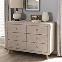 Baxton Studio Jonesy 6 Drawer Linen Upholstered Dresser in Beige
