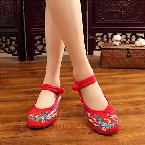 Dream Red Phoenix Embroidered Shoes Flat Ballet Cotton Loafer Women Casual Loafers Red qWJ0C3L