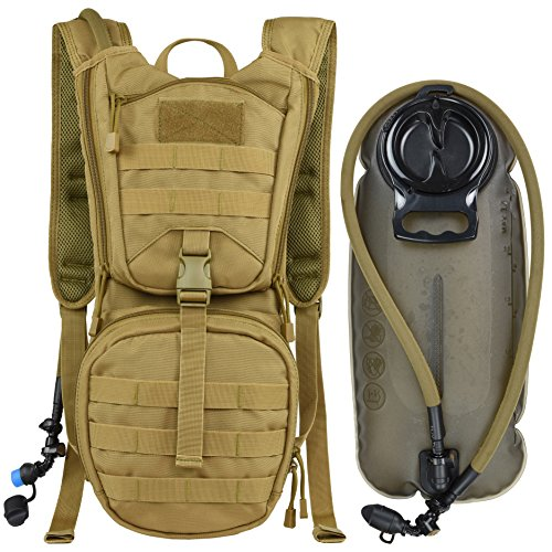 MARCHWAY Tactical Molle Hydration Pack Backpack with 3L TPU Water Bladder, Military Daypack for Cycling, Hiking, Running, Climbing, Hunting, Biking (Tan)