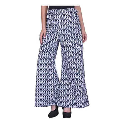 Indian White Blue Flared Women's Nika Fusion Handicrfats Export Trousers rBOwqAr