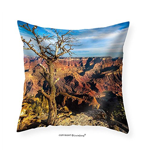 VROSELV Custom Cotton Linen Pillowcase Landscape View of Grand Canyon with Dry Tree in Foreground Arizona Usa - Fabric Home Decor 16