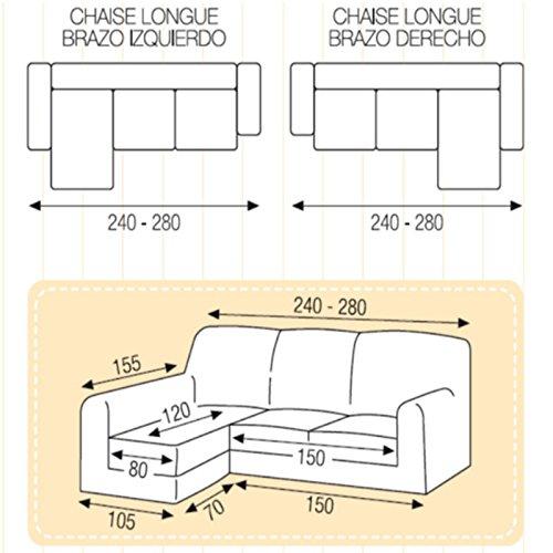 Funda Chaise Longue Brazo Largo Elástica Modelo Dallas, Color Marfil, Medida Brazo Izquierdo – 240-280cm (Mirándolo de Frente)