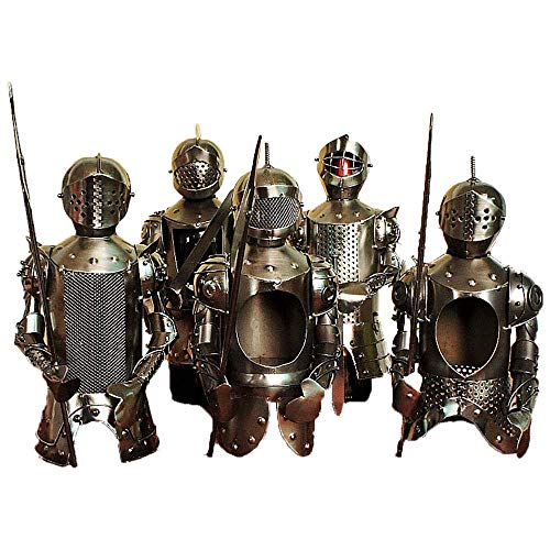 5 Pcs Metal Bottle Wine Holder,Novelty Personality Wine Rack Stand,Living Room Decoration,Stainless Steel Warriors in Armor