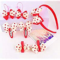 Pretty Hair Decoration Girl's Hair Clip Head Band Hair Rope Child Lovely Head Decorations Set (Beige+Red)