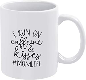 White Ceramic Mug, Water Tea Coffee Cup for Office and Home, I Run On Caffeine And Kisses Funny Coffee Tea Mug, Birthday Gifts for Women and Men, For Dad and Mom