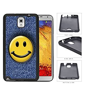 Smiley Face On Denim Jean Surface Rubber Silicone TPU Cell Phone Case Samsung Galaxy Note 3 III N9000 N9002 N9005