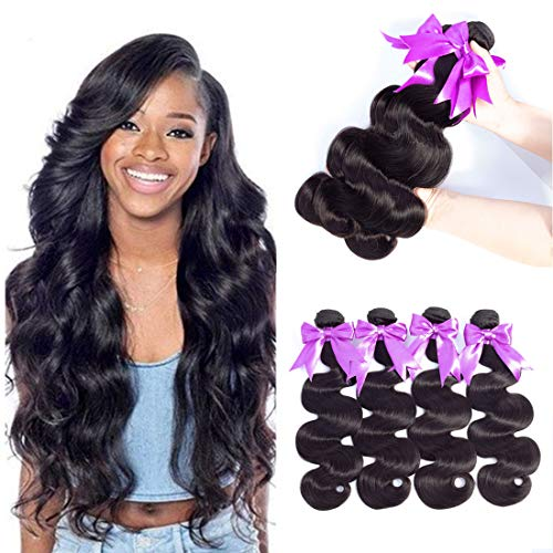 SIDO Brazilian bundles of Virgin Hair Body Wave Remy Human Hair bundles 100% Unprocessed Virgin Human Hair Extensions Cheap Brazilian Body Wave Natural Color Can Be Dyed(14''16''18'')