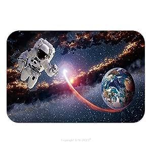 Franela de microfibra antideslizante suela de goma suave absorbente Felpudo alfombra alfombra alfombra astronauta planeta tierra astronauta lanzamiento exterior traje espacial Galaxy Universo elementos de esta imagen 562454761para interiores/exteriores.