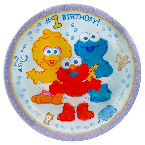 Sesame Street Beginnings 1st Birthday Large Paper Plates (8ct)