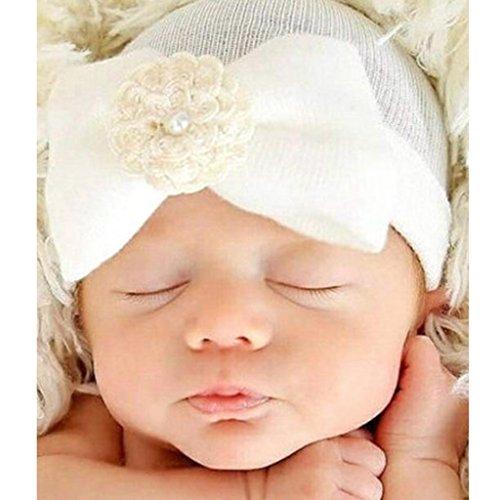 Ussore 1PC Newborn Boys Girls Baby Kids Headwear Pretty Bow Flower Pearl (White)
