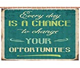 American Shower Curtain [ Lifestyle,Every Day is a Chance to Change Your Opportunities Quote Retro Poster Print,Jade Green Tan ] Bathroom Accessories