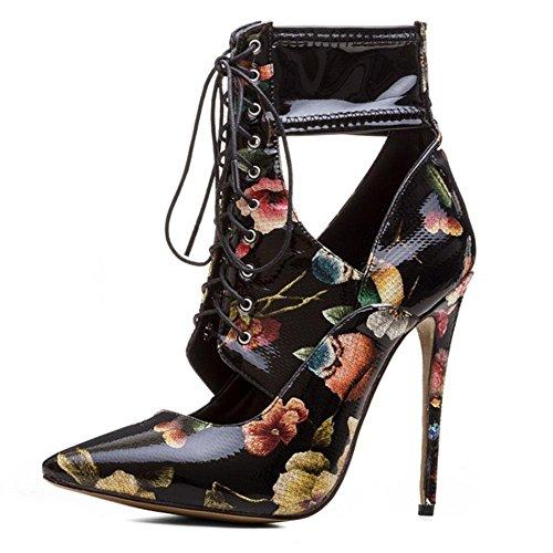 Rutschfeste Stiefel BOTXV Mode Stiefel Stiefel Vorderriemen Spitzschuh Kurze Atmungsaktiv Hochhackige Nackte Fein Stiletto Farbe Damen Verschleißfest Lackleder AvqZH