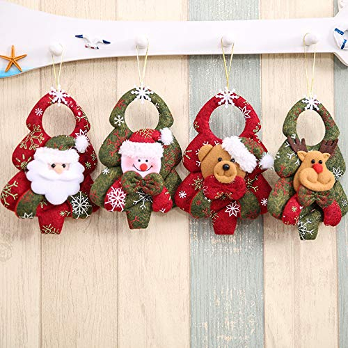 Party Holiday Decorative YJG Christmas Tree Ornaments Plush Hanging Set of 4 PCS in Country Colors Santa//Snow//Elk//Bear