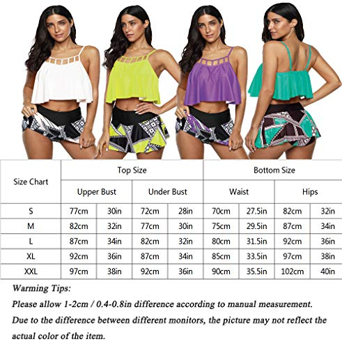 Anguang Tankini Swimsuits for Women 2 Piece Floral Ruffled Bathing Suit Tummy Control High Waisted Skirt Briefs Bikini Set Green S