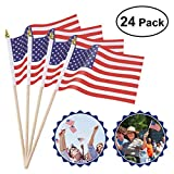 Cheap OULII 24 Pack Mini American Flags Hand Held Mini US Flags on Stick with Gold-Capped 4″ x 6″