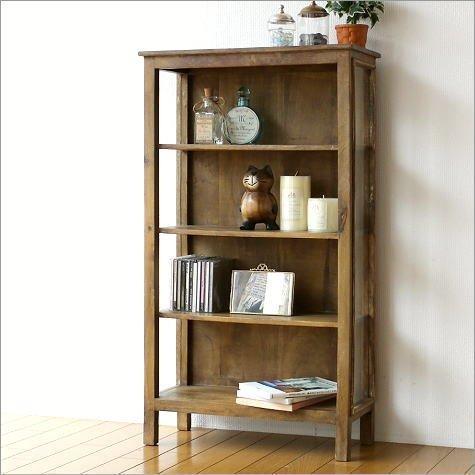 ウッドラック スリム 飾り棚 木製 ウッドシェルフ サイドガラスの4段シェルフ [kan5110] B01G4UL3LY
