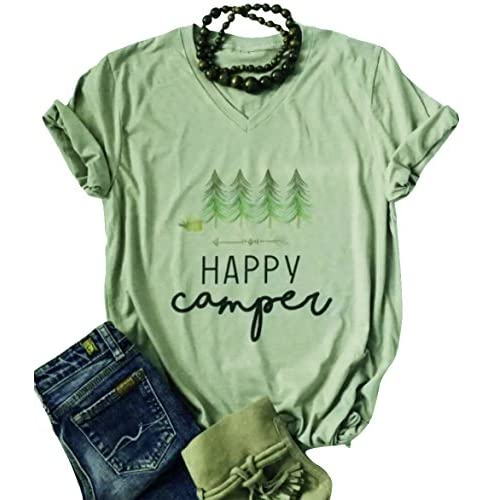 LANMERTREE Women Letter T Shirt Graphic Casual Short Sleeve V-Nack Funny Tee Tops Blouse