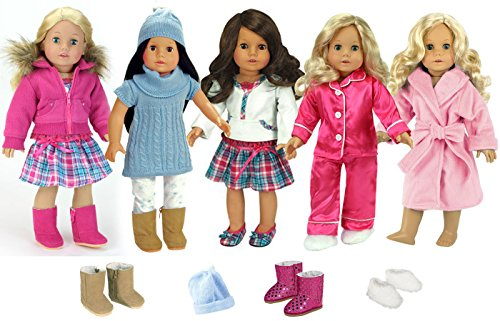 12 Piece Winter Fashion Doll Clothes and Shoes Wardrobe