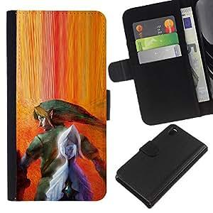 LECELL--Cuero de la tarjeta la carpeta del tirón Smartphone Slots Protección Holder For Sony Xperia Z3 D6603 -- Legend Of Zeldo --