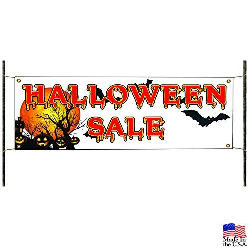 Full Moon Halloween Sale Pumpkin Retail Bats Decor Advertising Vinyl Banner Sign]()