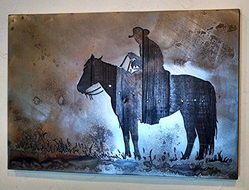 Cowboy And His Horse - Metal Art - Reclaimed Wood and Aged Steel - 20''x28'' - by Legendary Fine Art by LegendaryFineArt