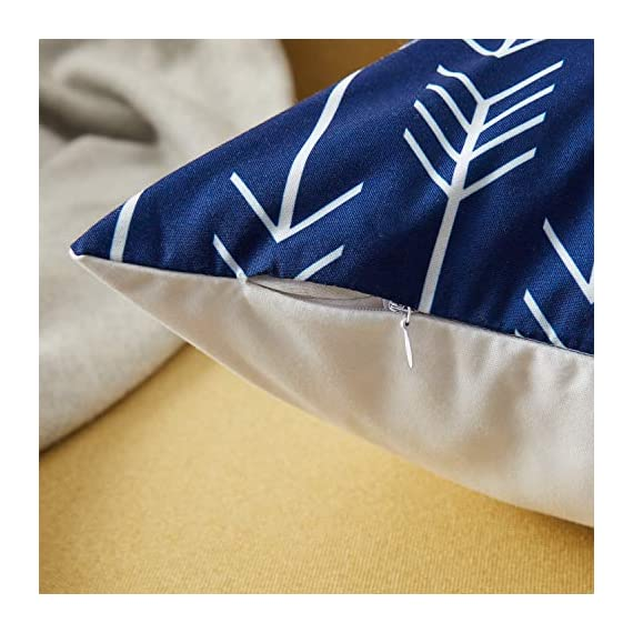 Top Finel Accent Decorative Throw Pillow Covers Durable Canvas Outdoor Throw Pillow Covers 20 X 20 for Couch Bedroom, Set of 6, Navy - SUPER PLUSH MATERIAL & SIZE: Made of durable canvas, comfortable to touch and lay on. 20 X 20 Inch per pack, included 6 packs per set, NO PILLOW INSERTS. WORKMANSHIP: Delicate hidden zipper closure was designed to meet an elegant look. Tight zigzag over-lock stitches to avoid fraying and ripping. NO PECULIAR SMELL: Because of using environmental and high quality canvas fabric,our throw pillow cases are the perfect choice for those suffering from asthma, allergen, and other respiratory issues. - patio, outdoor-throw-pillows, outdoor-decor - 51U vG97XQL. SS570  -