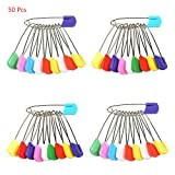 Yosoo 50 Pack/100 Pack Assorted Color Baby Plastic Head Safety Pins Cloth Diaper Nappy Pins Kids Safety Safe Hold Clip Locking Cloth (50 Pack)