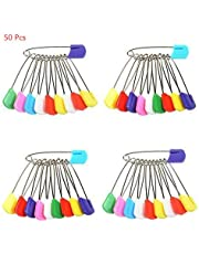 Yosoo 50 Pack/100 Pack Assorted Color Baby Plastic Head Safety Pins Cloth Diaper Nappy Pins Kids Safety Safe Hold Clip Locking Cloth