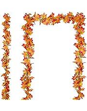 YQing 2-pack höst girlang lönnblad, hängande vinstockar girlang konstgjord höst lövverk girlang tacksägelse dekor för hem bröllop eldstad fest, 1,7–1,8 m