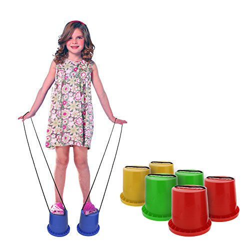 Get Out! Bucket Stilts in Red – Kid Stilt 2-Pack (Pair) Walking Cups for Children – Kids Stepper Toy Walking - 4.5' Base Hollow