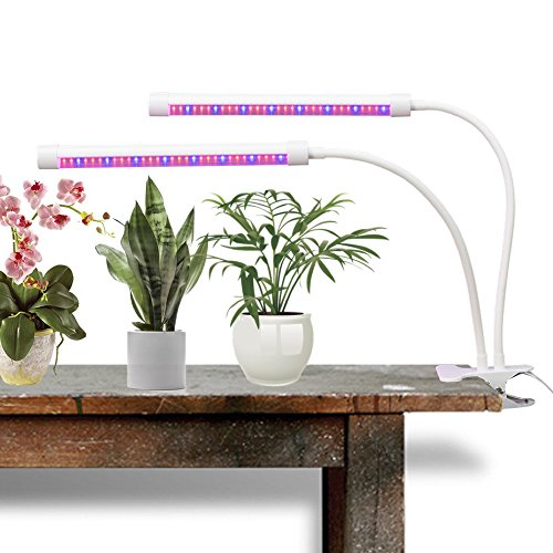 FlexLumen LED Grow Light for Indoor Plants | Ultra Bright Red/Blue Spectrum | Super Strong Adjustable Gooseneck Dual Head with Clip |18 Watt Clamp On Lamp for Growing Hydroponics Greenhouse Gardening For Sale
