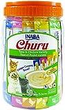INABA Churu Lickable Purée Natural Cat Treats (Tuna and Chicken Variety, 50 Tubes)