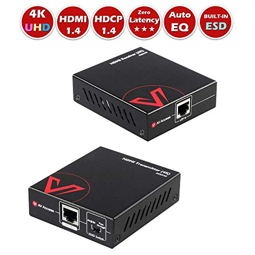 4K HDMI Extender Over Single cat5e/6/UTP, 4Kx2K -131ft(40M), 1080P-197ft(60M), HDMI1.4, HDCP1.4, Bi-Directional IR, Dolby True HD/DTS HD Master/PCM7.1, Auto Equalization for Video and Audio.