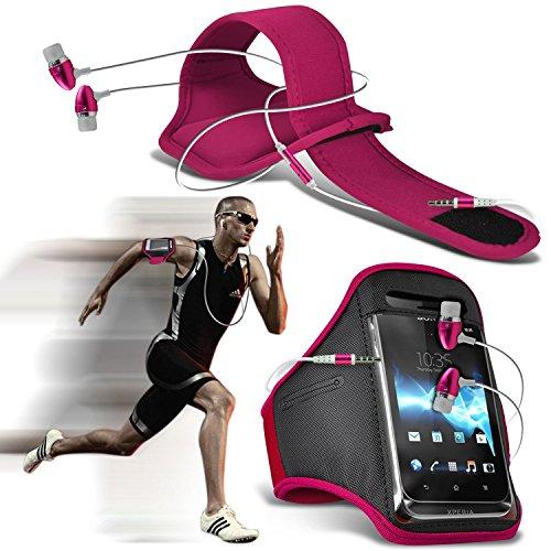 (Pink + Ohrtelefon) iPhone 7 Plus-Handy-Fall-Qualitäts-Einbau Sports Armbinden Laufen Rad Radfahren Jogging und Fitnessstudio Ridding Arm-Band-Kasten-Abdeckung mit Fall-Qualitäts-Einbau in Earbuds Ste